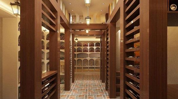 私人酒窖中的酒架设计