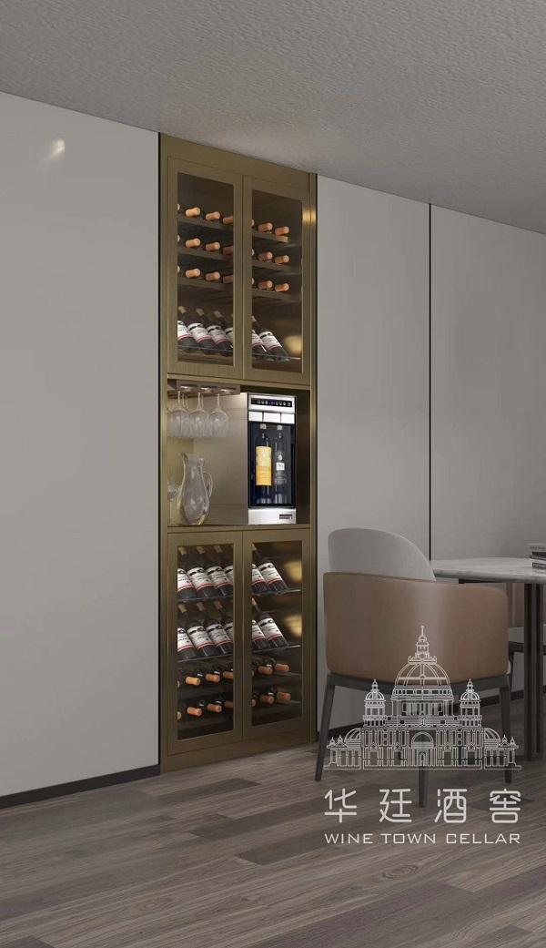 香槟金不锈钢两头分杯机酒柜